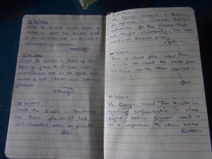 Two pages of handwritten notes