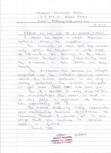Photograph of handwritten report from Kachieng Secondary School